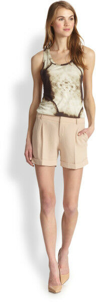 NWT  Haute Hippie Pleated Cuffed Shorts in Beige (BUFF) with lining  size 10