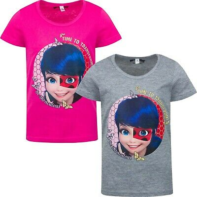 Verantwortlich Miraculous Ladybug T-shirt Shirt Kurzarm 116-152 Pink Grau Neu