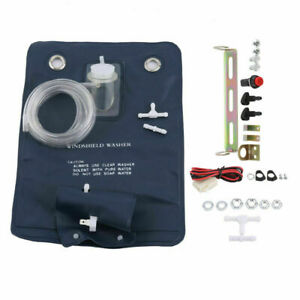 Windshield Washer Fluid Pump,12V Universal Windshield Washer Pump Bag Kit With Jet Button Switch for Classic Cars