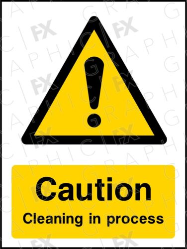 GFXWARN088 Caution Cleaning in Process Portrait Sign Signage Vinyl Poster
