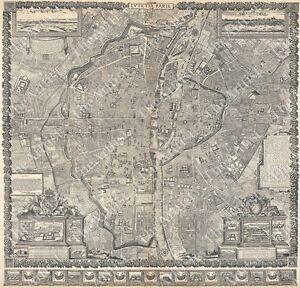 image is loading giant vintage historic plan paris france 1652 old