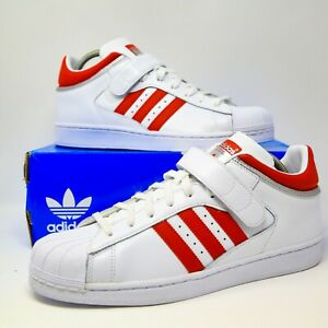 adidas-Pro-Shell-Toe-Mid-White-Scarlet-Red-sz-10-BY4384-EUR-44-UK-9-5-model-star