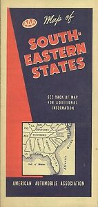 Details about 1944 Road Map SOUTHEASTERN UNITED STATES Florida Virginia  Kentucky Georgia AAA