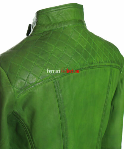 Anna Ladies Designer Quilted Leather Jacket Green Classic Fashion Fitted Jacket