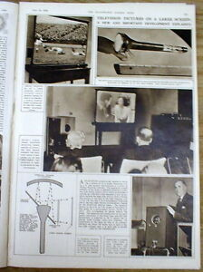 1949 illustrated newspaper poster display EARLY Large screen TELEVISION INVENTED