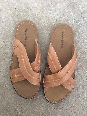 Samuel Windsor tan leather sandal size