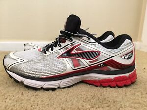 size 40 9652e dc632 Details about Brooks Ravenna 6 VI, 1101861D146, White/Red/Black, Men's  Running Shoes, Size 8.5