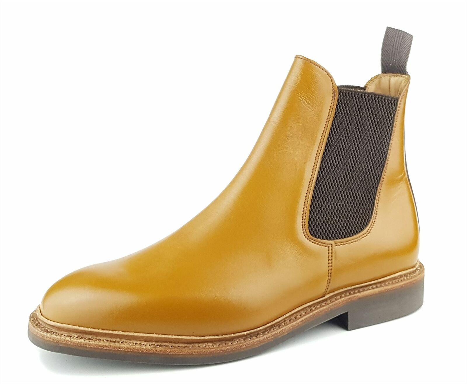 Charles Horrel Wetled England Made Commando Sole Chelsea Boots Tan