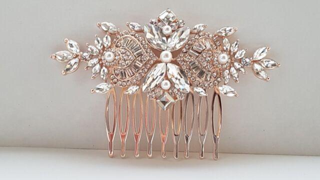 BN Bridal Rose Gold Wedding Crystal Women Hair Comb 339