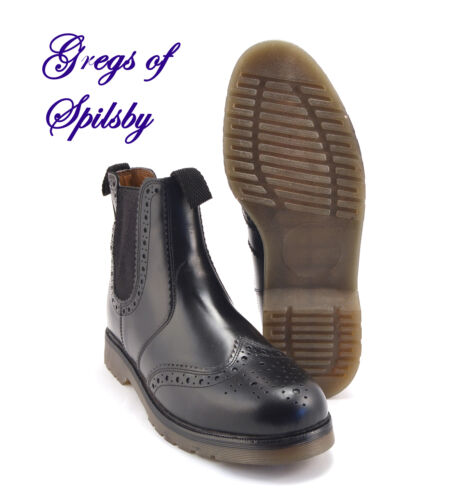 Mens Boys Ladies Brogue Boots In Black Leather With Air Wear Soles Sizes 4-14