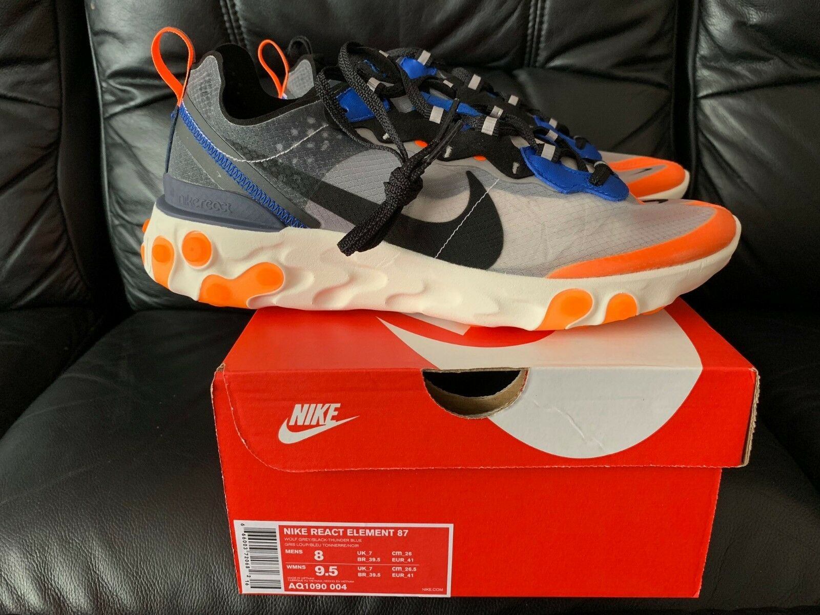 2018 2018 2018 Nike reagire elemento 87 Thunder Blue Arancione totale Tutte Le Taglie NUOVO 198507