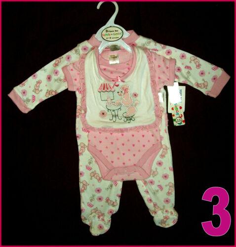 BABY 3 Pc ROMPER GIFT SET GIRLS BodySuit with Bib Pink 0-3 3-6 mths New