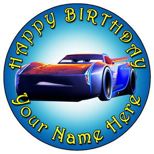 Disney Cars Jackson Storm 7 5 Personalised Round Edible Icing