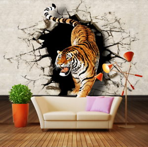 3D Tiger Paint 577 Wallpaper Murals Wall Print Wallpaper Mural AJ WALL AU Lemon
