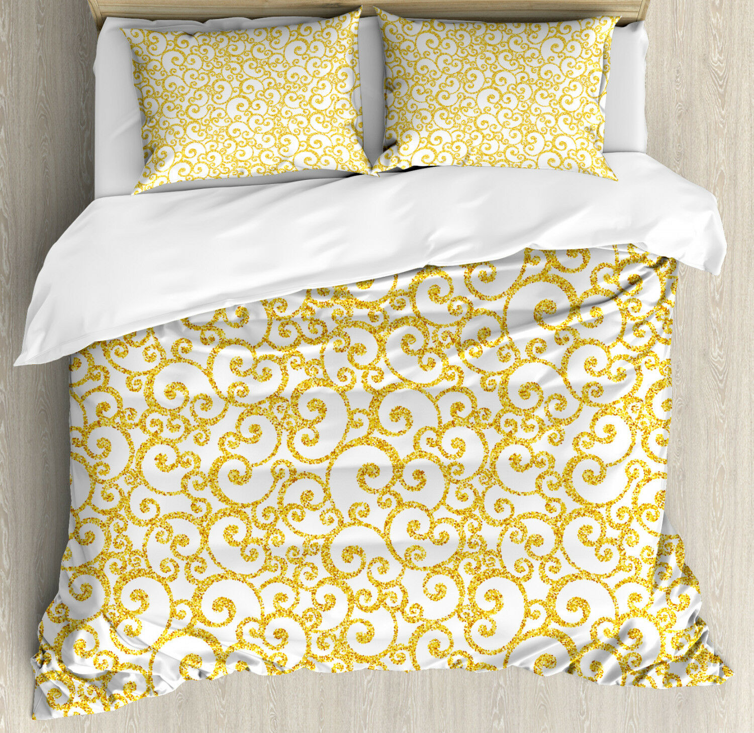 Victorian Duvet Cover Set with Pillow Shams Swirling Lines Floral Print
