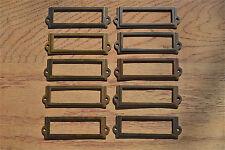 10 antiqued brass file cabinet label holder name plan chest map drawer LH1