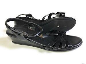 SAS-Strippy-Black-Patent-Leather-Strappy-Sandals-Women-039-s-Shoe-Size-11-M