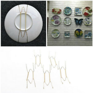 5x Plate Wire Hanging White Hanger Flexible With Spring Wall Display&Art Decor'