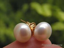 9-10mm WHITE Pearl Earring Studs - 18k Gold Plated 925 SOLID Silver