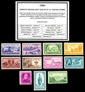 1950-COMPLETE-YEAR-SET-OF-MINT-MNH-VINTAGE-U-S-POSTAGE-STAMPS