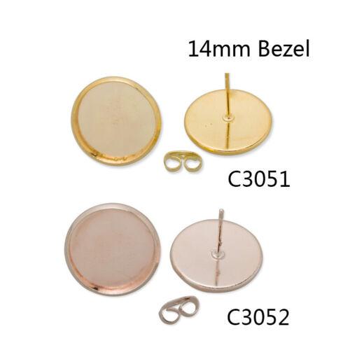50Pcs 14MM Round Bezel Earrings Stud Blank Pad Base Earrings Findings Crafts