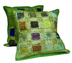 10-Green-Embroidery-Sequin-Patchwork-Indian-Pillow-Cushion-Covers-Wholesale-Lot
