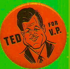 TED KENNEDY FOR VICE PRESIDENT CARICATURE POLITICAL CAMPAIGN PIN