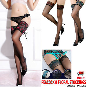 ba7d5c3c471 Peacock Floral Feather Sexy Women s Lace Thigh High Silk Stockings ...