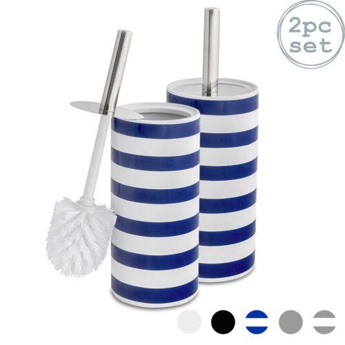 Cepillo de Inodoro Baño /& Conjunto De Limpieza De Cerámica Titular De Pie-Azul a Rayas-x2