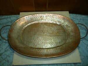 Old-Vintage-Antique-Hand-Hammered-Copper-Plated-Steel-Serving-Tray-Heavy