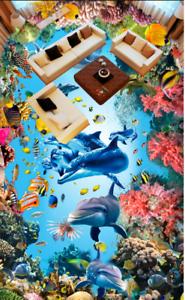 3D Dolphins Corals 53 Floor WallPaper Murals Wall Print 5D AJ WALLPAPER UK Lemon