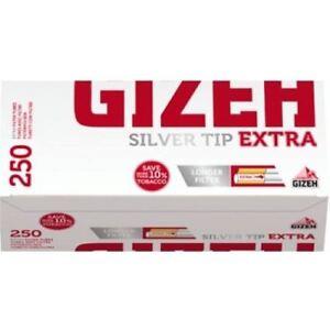 2000-Gizeh-Argent-Pointe-Tubes-Extra-de-Long-250-039-s-X-8-Boite