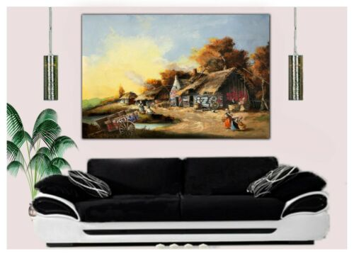 Banksy Cottage Paint Re Production Print on Framed Canvas Wall Art Home Decor