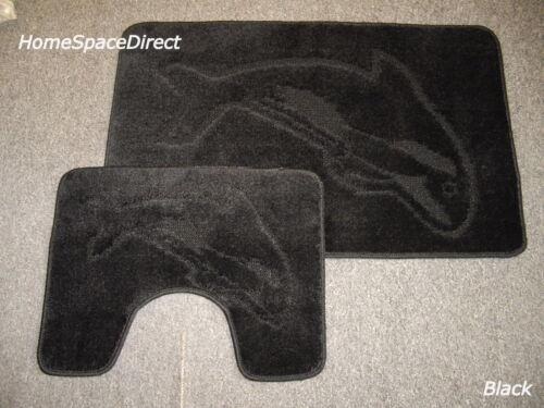 Rug Sets Non Slip Dolphin Bathroom Set Toilet Mat 2 Piece Bath /& Pedestal Mat