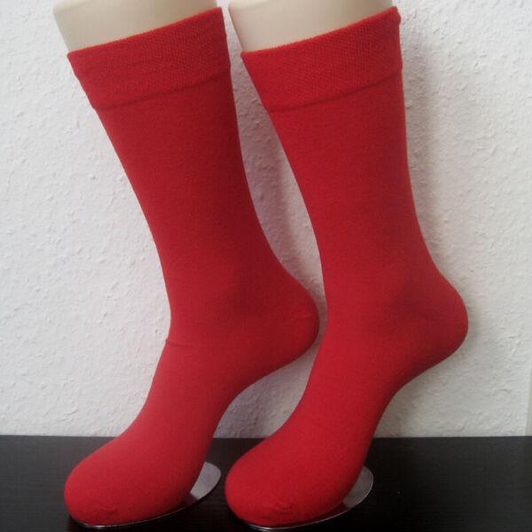 100% De Calidad 2 Pares Calcetines Caballero Extra Más Ancha Piqué Soft Borde Sin Goma Vívido Rojo 39-46-ver