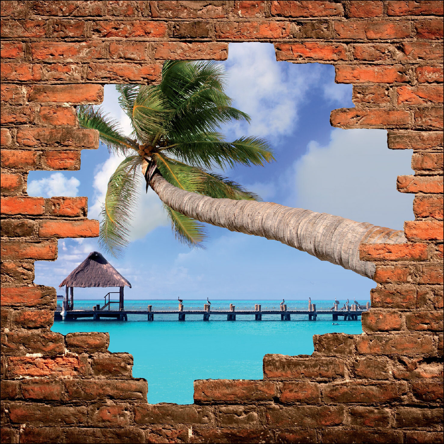 Adhesivo de pared trampantojo piedra Deco la trópicos palmera ref 892