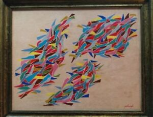 Robert-Goodnough-American-Oil-Painting-Signed-Framed-US-Reseller-1950-039-s-Artwork