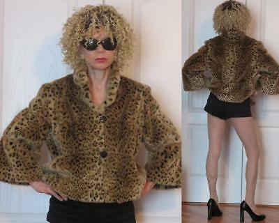 INC International Concepts Leopard Faux Fur cropped jacket L (fits also M and S)