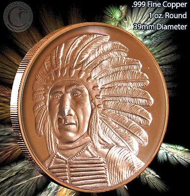 American Indian Series 1oz .999 BU copper round Chief Sitting Bull