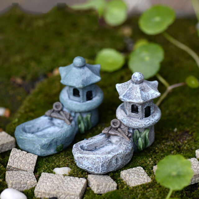 Mini Retro Pond Tower Craft Fairy Garden Decor Figurines Toys Micro Landscape、WB