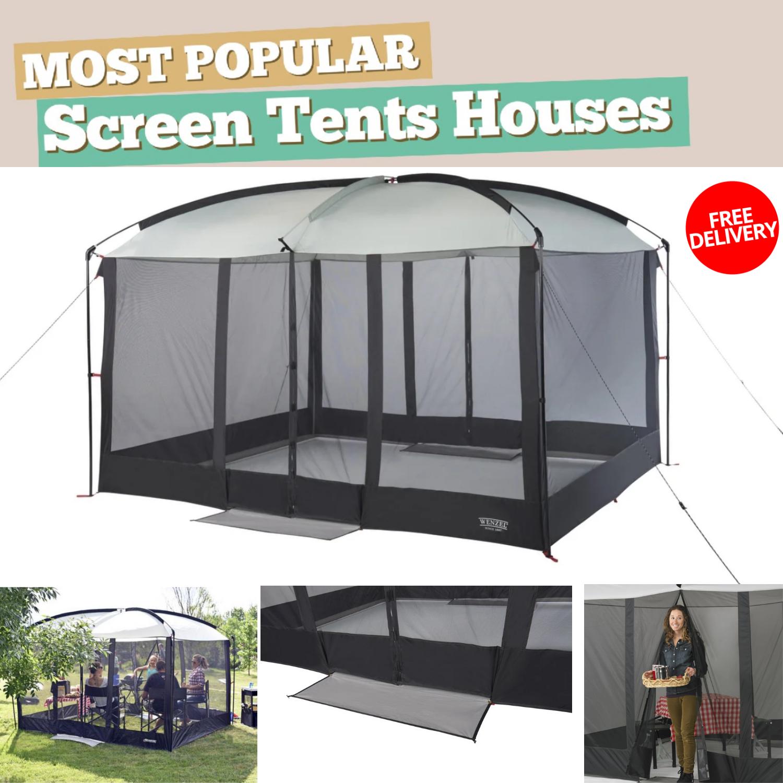 Gazebo Tent 11 ft L x 9 ft W x 7.5 ft H Magnetic Door Screen House For all'aperto