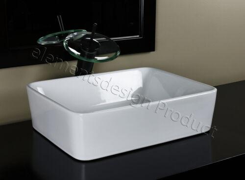 Bathroom Ceramic Vessel Sink With Oil Rubbed bronze Faucet /& Drain 7050E4