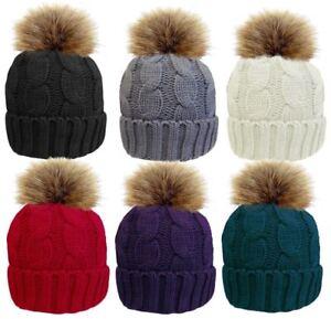 1b6d109c909 Image is loading Ladies-Chunky-Knitted-Rib-Hat-Detachable-Fur-Pompom-