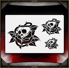 """Skull Rose"" Airbrush Stencil Template Airsick"