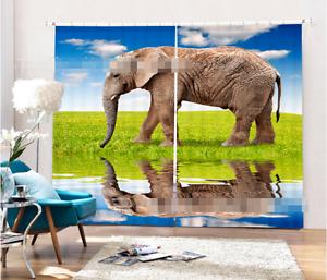 3D Elephant 67 Blockout Photo Curtain Printing Curtains Drapes Fabric Window AU