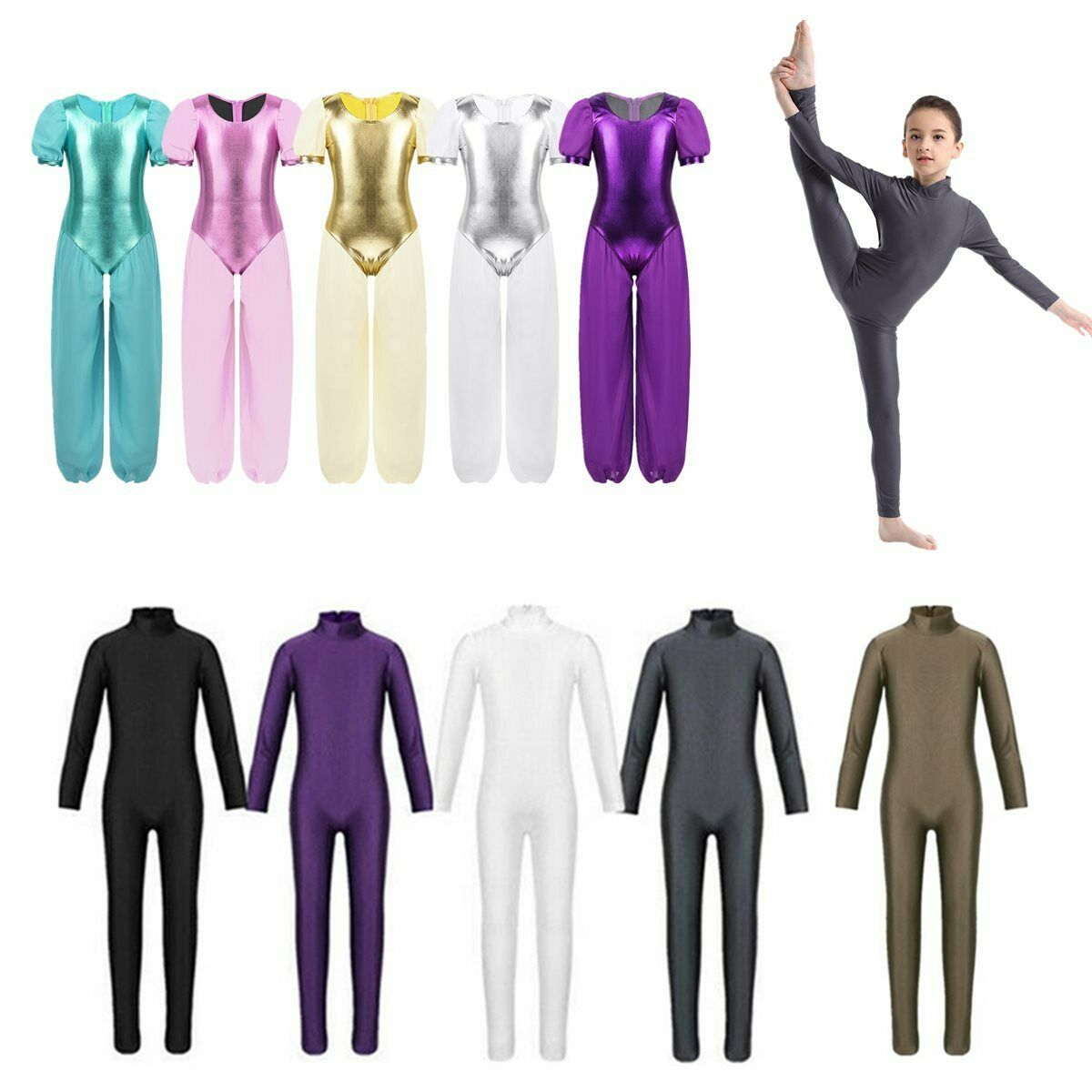 Toddlers Girls Ballet Dance Leotards Gymnastics Long Sleeves Dancewear Jumpsuits