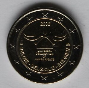 "Belgium 2 euro coin 2008 /""Declaration of Human Rights/"" UNC"