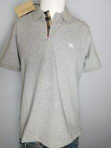 Burberry Brit mens grey melange short sleeve nova check placket polo shirt s,m,l