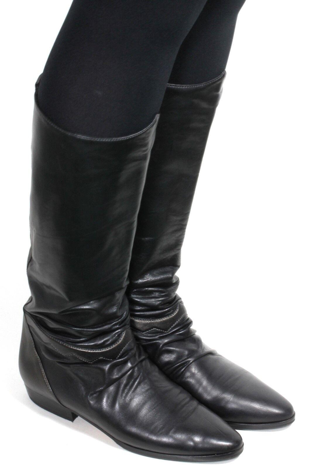Cuir Vintage Bottes Femmes Hipster blogueurs bottes metallic BOTTAZZIN Elegant 38