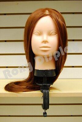 2 pcs Hairdressing Salon Practice Training Head Mannequin #TRAIN02-BN x2+Clampx2